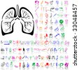 Set of medical sketches. Part 11. Isolated groups and layers. Global colors. - stock vector