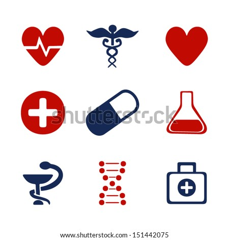 Set Medical Symbols Stock Vector 151442075 Shutterstock