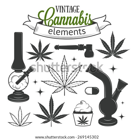 Set of medical vintage cannabis elements. Marijuana set - stock vector