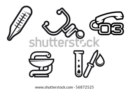 Set of medicine equipment and symbols isolated on white. Jpeg version also available in gallery - stock vector