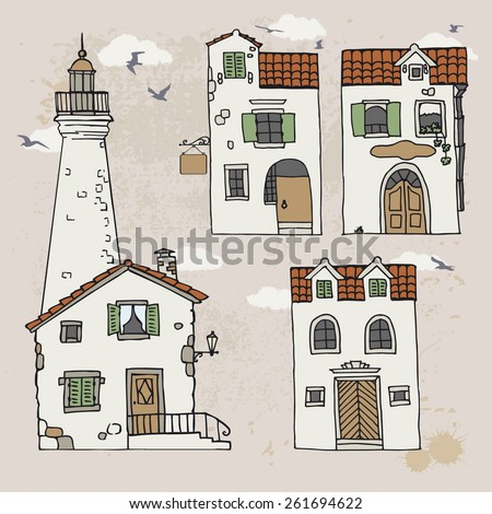 Set of mediterranean houses and lighthouse on vintage background. Hand drawn doodle sketch. Vector illustration. View of old mediterranean town. Italy, Montenegro, Croatia.  - stock vector