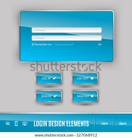 Set of member login template with buttons. Username and  password form. Vector design elements. - stock vector