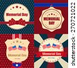 Set of memorial day label and background - stock vector