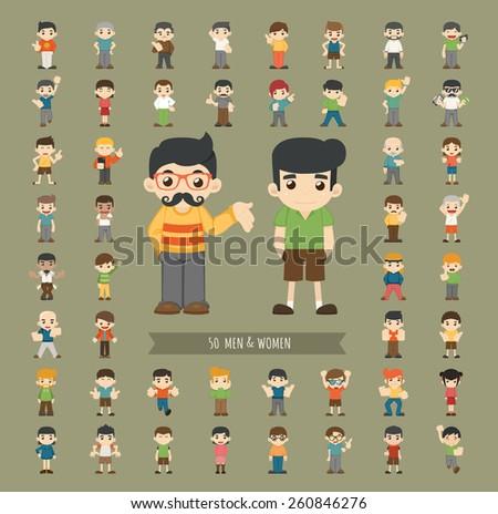 Set of men and women character , eps10 vector format - stock vector