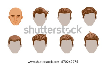 Set Men Cartoon Hairstyles Collection Fashionable Stock Vector HD Royalty Free 670267975