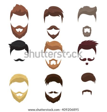 Set Men Cartoon Hairstyles Beards Mustache Stock Vector 409206895