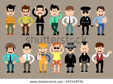 Set of men different characters, pose, profession. vector - stock vector