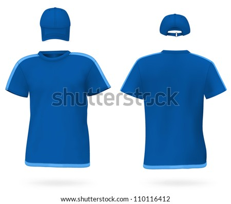 Set of men's t-shirt and a baseball cap. Front and rear views. - stock vector