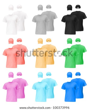 Set of men's t-shirts and caps templates with front and back views.