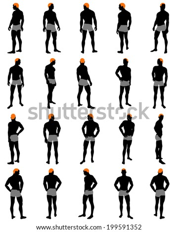 Set of men silhouette. Very smooth and detailed with color hairstyle. Vector illustration.     - stock vector