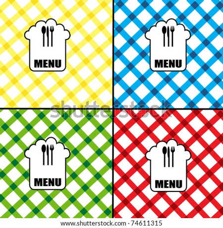 Set of menu card designs in different colors, vector illustration - stock vector