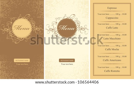 set of menus for a cafe or restaurant - stock vector