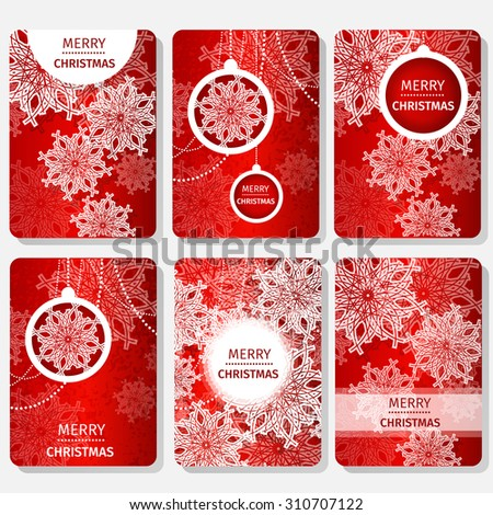 Set of Merry Christmas Abstract red card background with snowflakes, paper round ball,garland - tree decorations. Xmas ornaments. Vector illustration - eps10 - stock vector