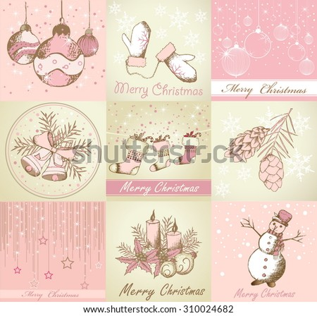 Set of Merry Christmas backgrounds and decorative elements - stock vector