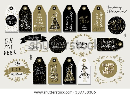 Set of Merry Christmas hand drawn vintage elements. Tags, ribbons, wreaths. Modern calligraphy. Vector. Oops, sorry, mistake in the word Christmas! - stock vector