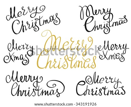 Set of Merry Christmas handmade lettering inscriptions. Design elements isolated on white background. Hand written lettering design for congratulation cards, banners and flyers - stock vector