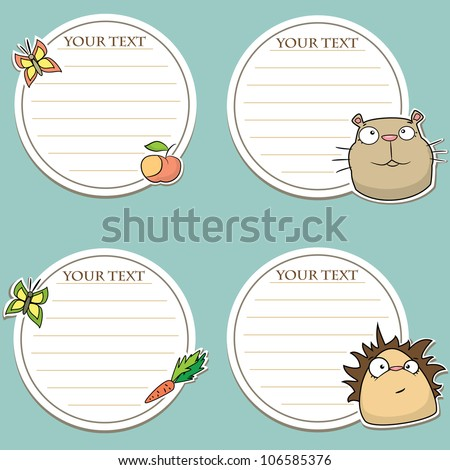 Set of message stickers with funny animals - stock vector