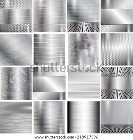 Set of metal background. Vector illustration.  - stock vector