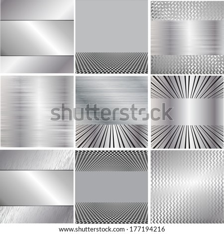 Set of metal backgrounds  - stock vector