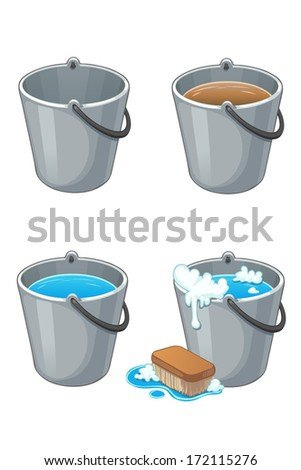Set of metal buckets with water on white - stock vector