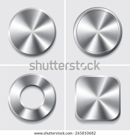 Set of  metal button, Vector - stock vector