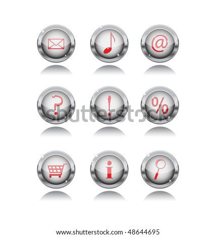 set of metal buttons with internet icons