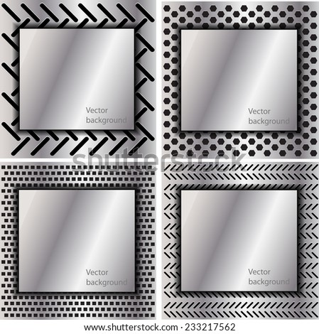 Set of metal texture with grid background. template design. Vector illustration. - stock vector