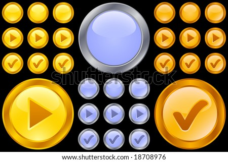 Set of metallic buttons