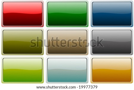 Set of metallic buttons with reflection - stock vector