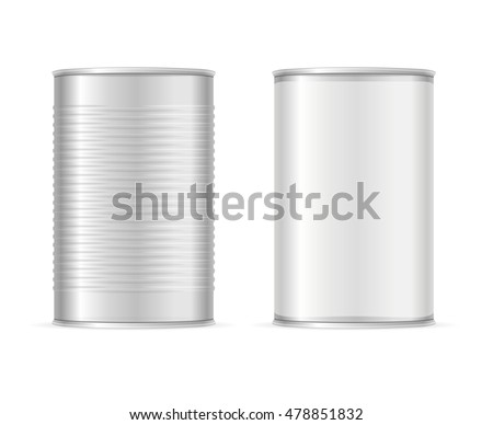 Set of Metallic Tin Cans. Vector illustration