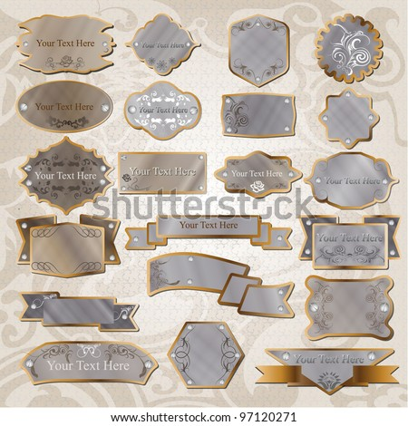 Set Of 21 Metallic Vintage Label Vector - stock vector