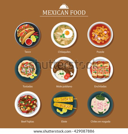set of mexican food flat design - stock vector
