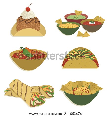 set of mexican styled food, isolated on white with transparencies - stock vector