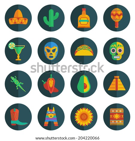 set of mexican themed round icon decorations - stock vector