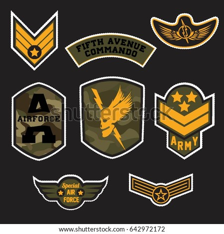 Set of Military and Army Grade Badge and Patches typography, Camouflage With Slogan Army Badges, Pins, Patches Soldier T-shirt and apparels print graphic vector typography Urban Camo. Skull, wings,