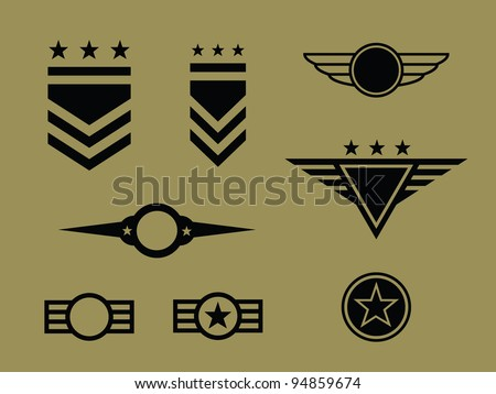 Set of Military Badge/ Symbols. - stock vector