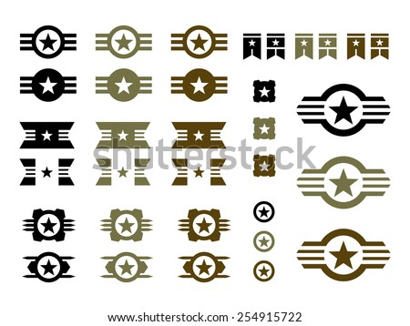 Set of Military Badges in Black, Green and Brown. - stock vector
