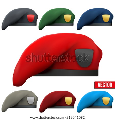 Set of Military colorful Berets of Army Special Forces with empty emblems. Vector Illustration. Isolated on white background. - stock vector
