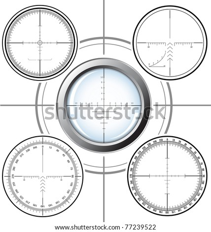 Set of military design elements - sniper scopes over white background. Vector illustration. All images could be easy modified. - stock vector