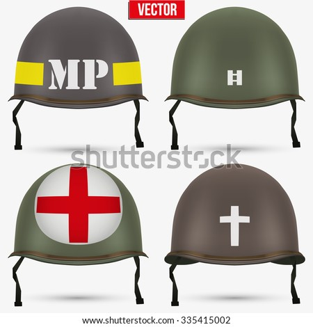 Set of Military US green helmet infantry of WWII. Insignia of medic, captain, police and chaplain. Vector illustration Isolated on white background.  - stock vector