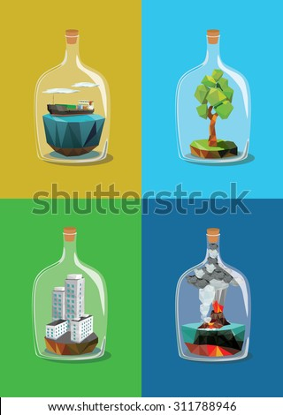 Set of miniature inside a bottle. Vector illustration. - stock vector
