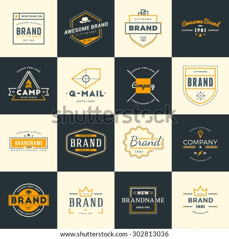 Set of Minimal and Clean Vintage Hipster Logotype Templates. Two Colors - stock vector