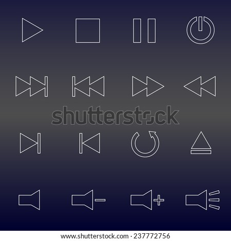 Set of Minimal Media Player Thin Line Icons. Vector illustration.