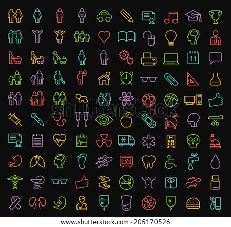 Set of 100 Minimal Modern Elegant Neon Colored Stroke Icons (Family, People Education, School and Medical) - stock vector