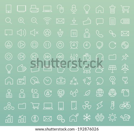 Set of 100 Minimal Modern White Stroke Icons (Interface, Multimedia, Business and Ecology) - stock vector