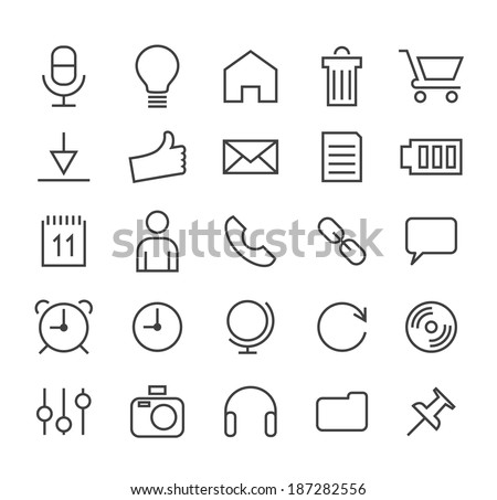 Set of Minimal Simple Multimedia and Interface Thin Line Icons on White Background 2. - stock vector