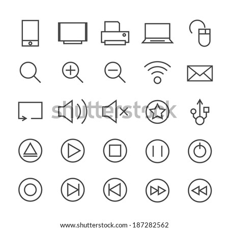 Set of Minimal Simple Multimedia and Interface Thin Line Icons on White Background 1. - stock vector