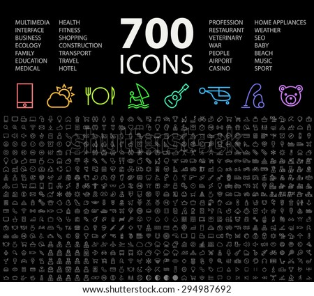 Set of 700 Minimal Universal Isolated Modern Elegant Neon Color Thin Line Icons on Black Background. - stock vector