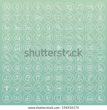 Set of 100 Minimal White Stroke Icons on Circular Buttons Family, People, Medical, Education and School) - stock vector