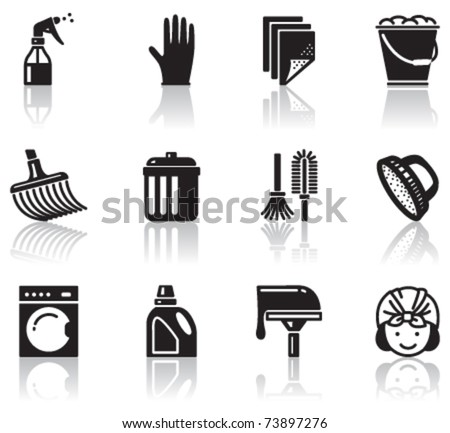 Set of minimalistic cleaning icons - stock vector